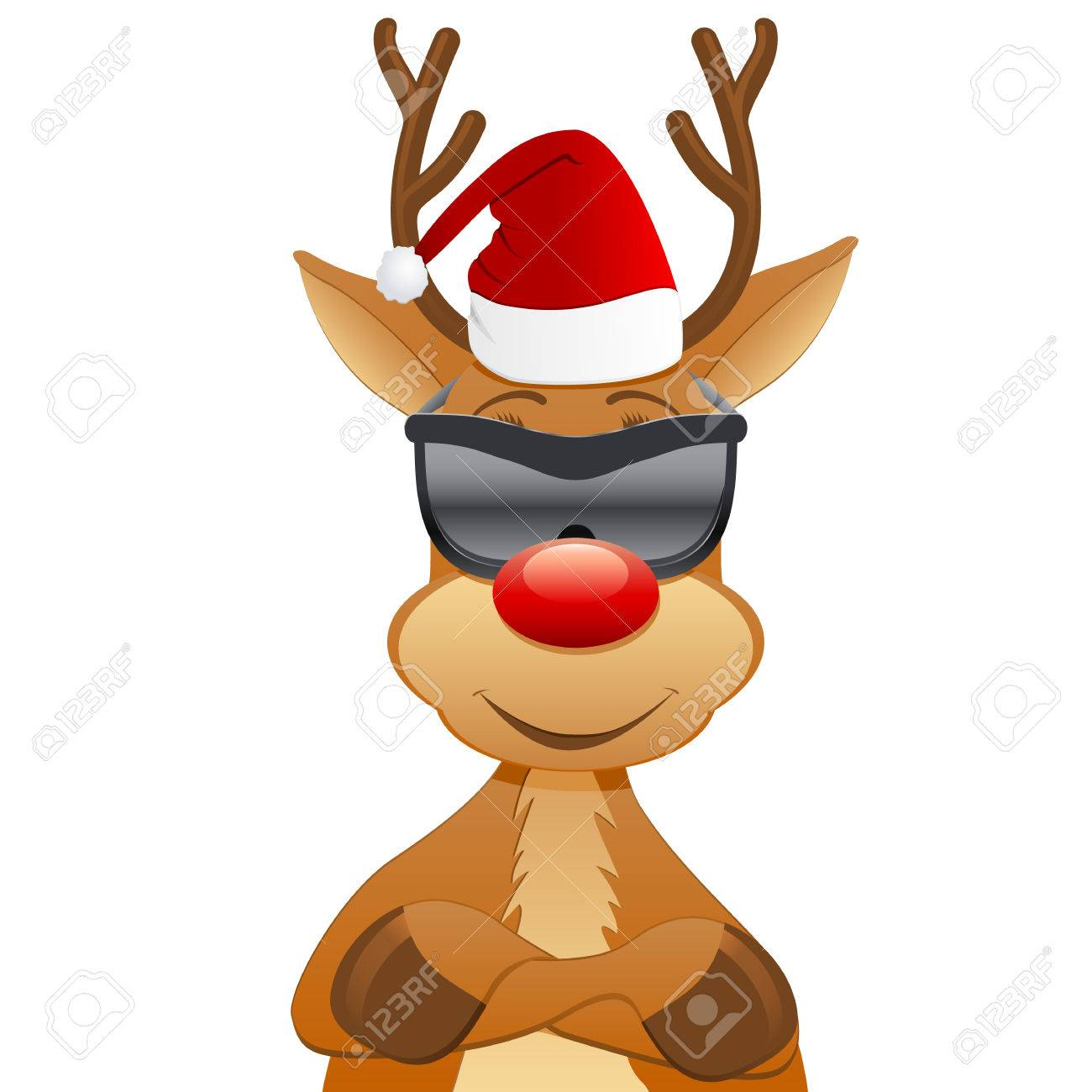 reindeer with Santa hat and sunglasses Stock Vector - 24184317