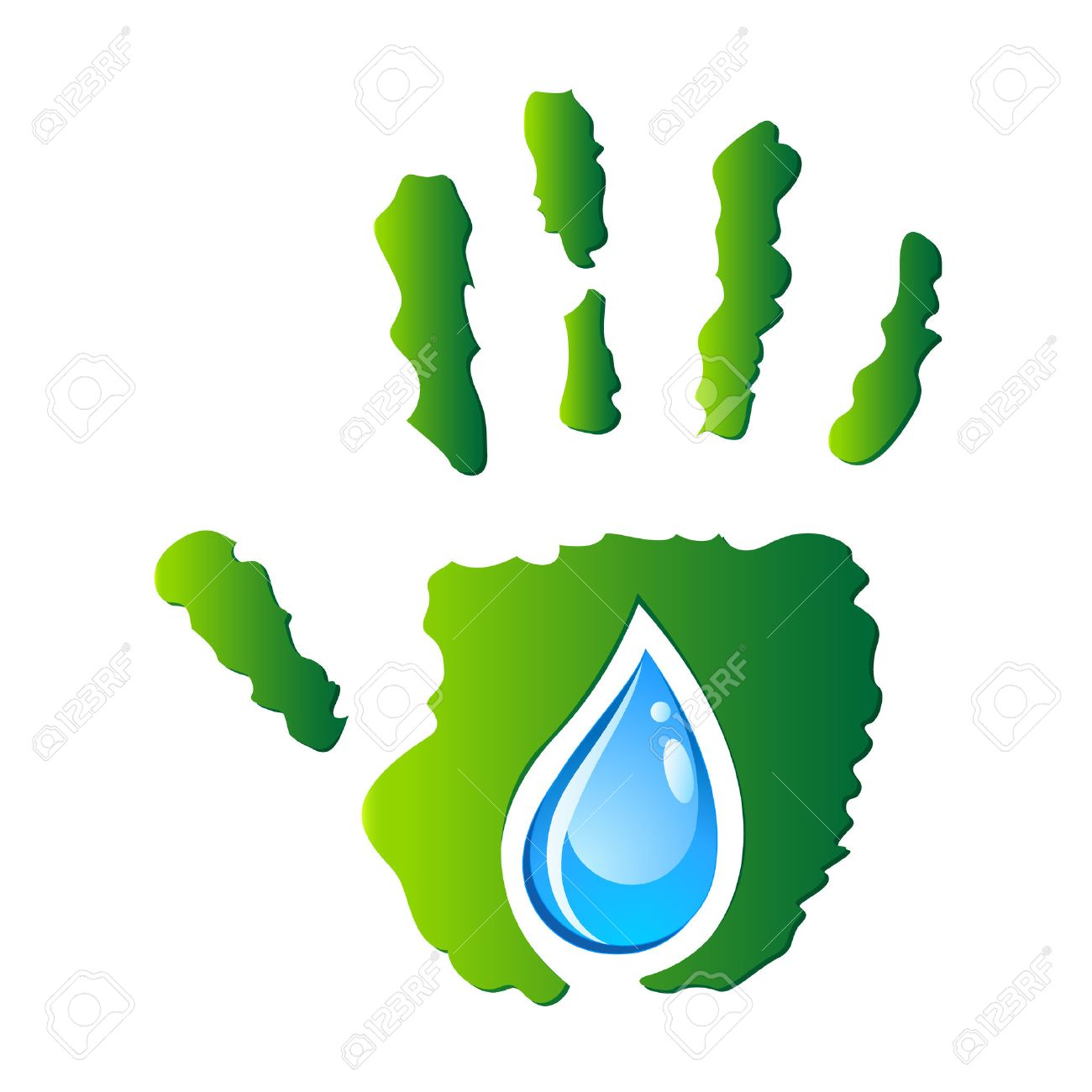 water drop in hand - eco sign Stock Vector - 25123814