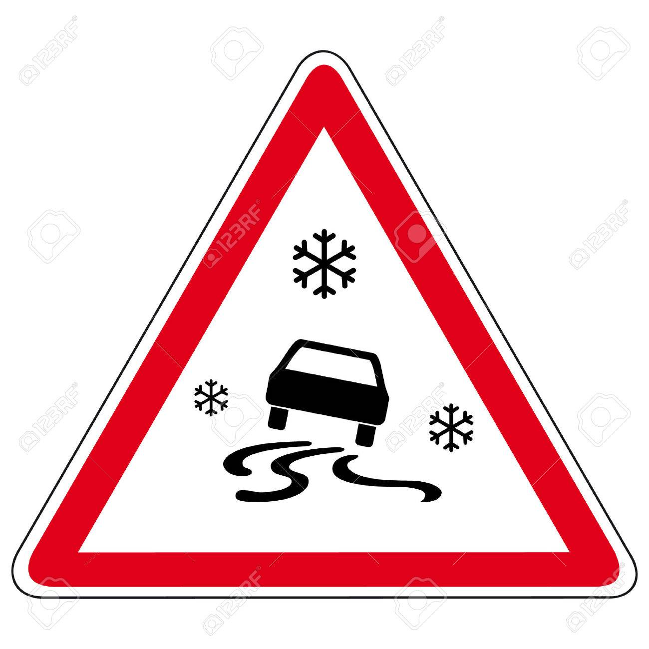 slippery road - vector sign - 50042106