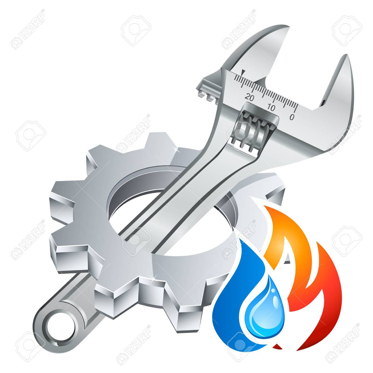 plumber icon with gear, adjustable wrench and fire/water symbol - 56921422