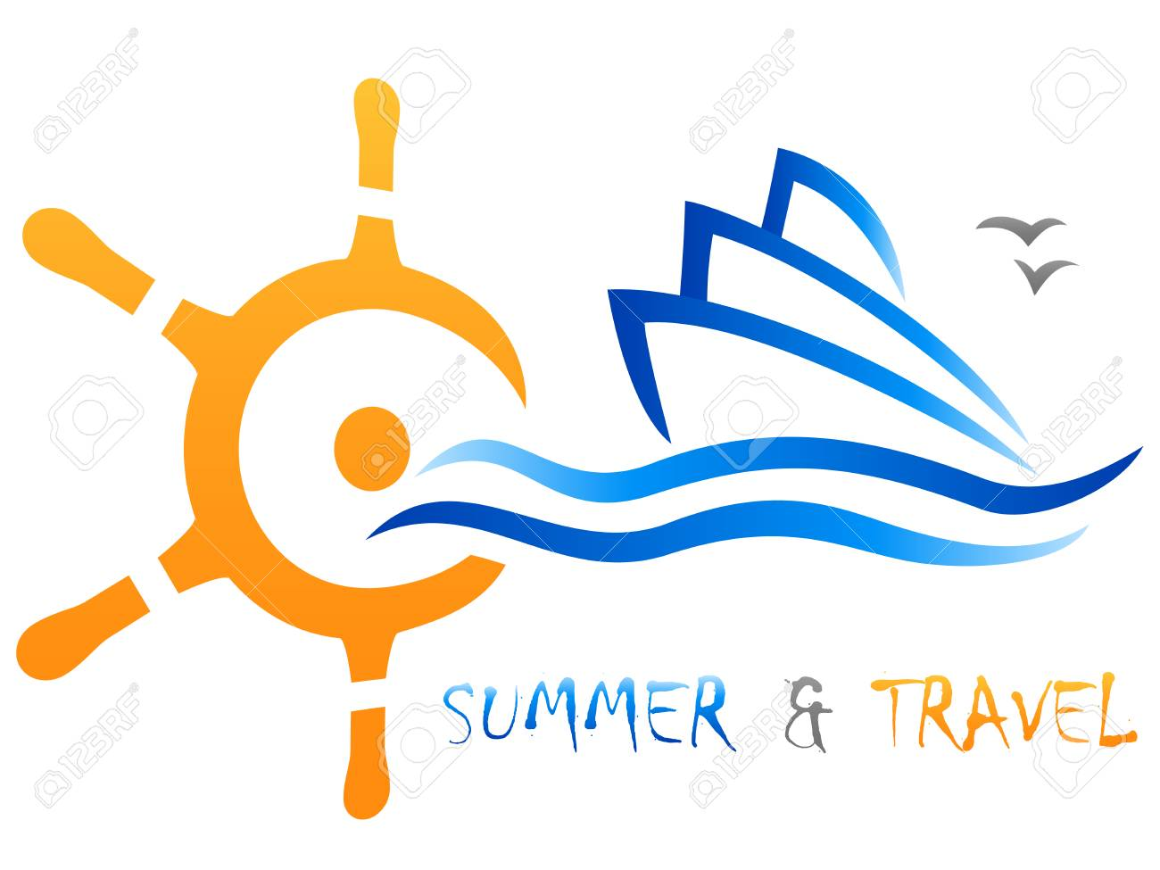 ship's steering wheel and cruise ship with text summer and travel