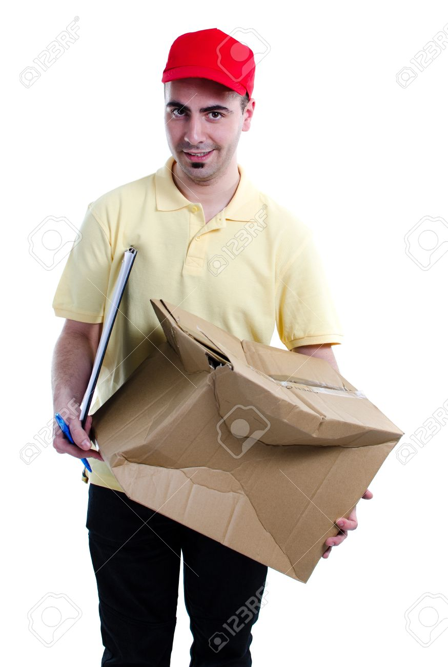 Delivery man scared for having damaged the parcel that distributes isolated over white background Stock Photo - 13215718