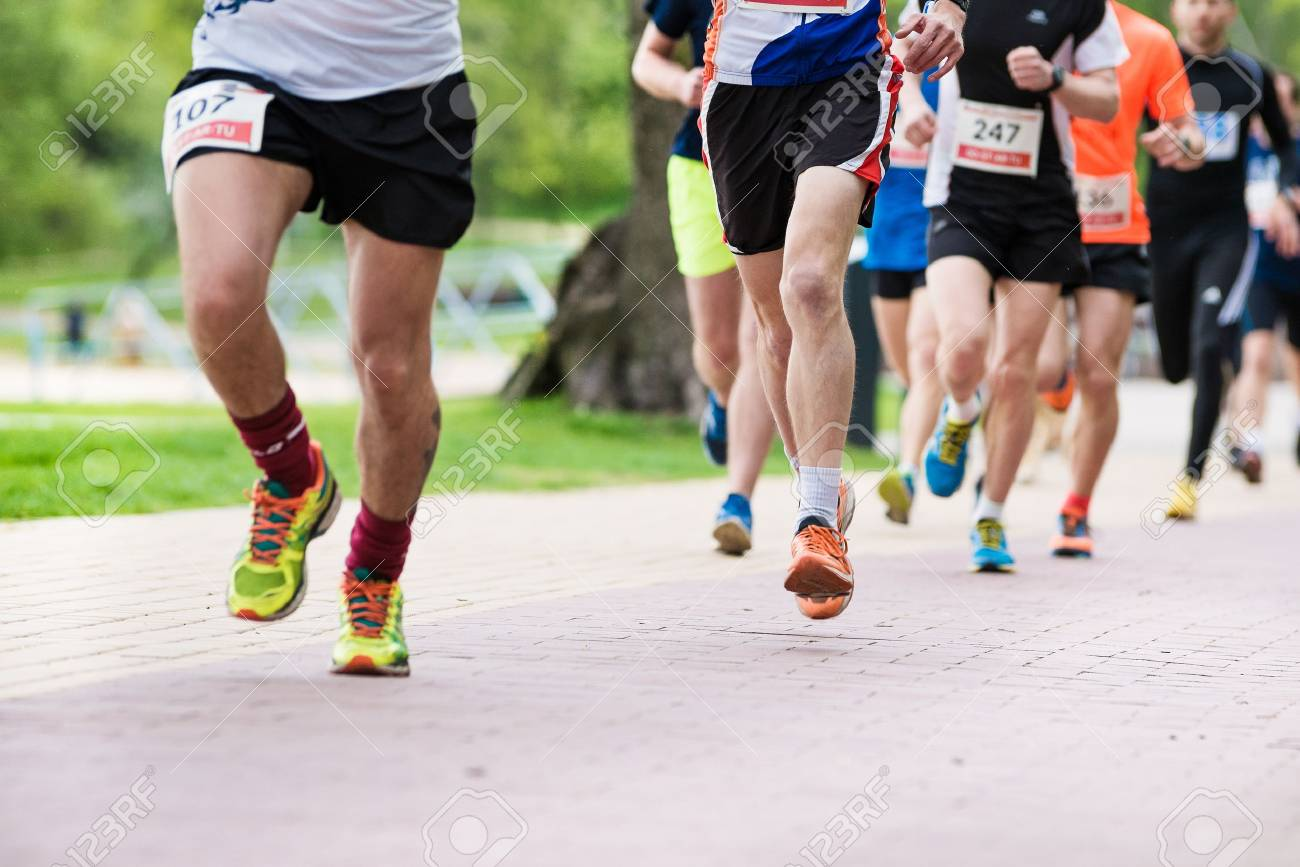 Summer Running Race In The Park, People Running Stock Photo ...