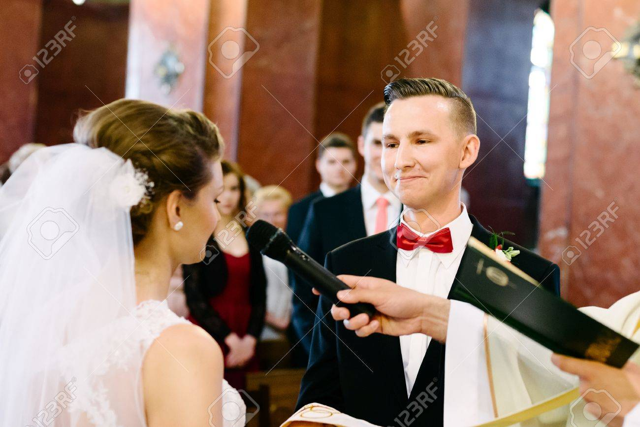 Wedding Ceremony In Catholic Church Marriage Vow Day Stock Photo