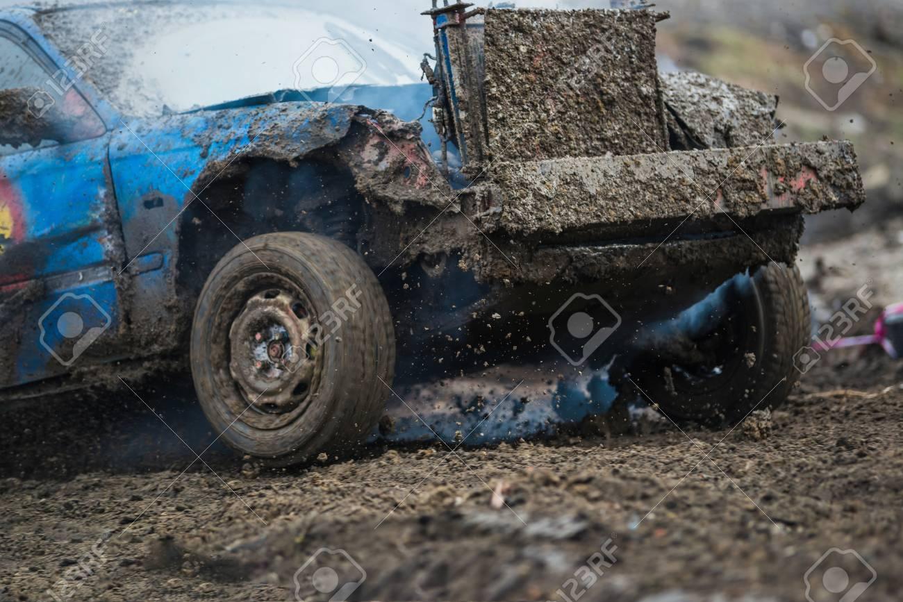 Wreck Scrap Cars Dirt Race. Dirty Old Car Racing In Mud Stock Photo ...
