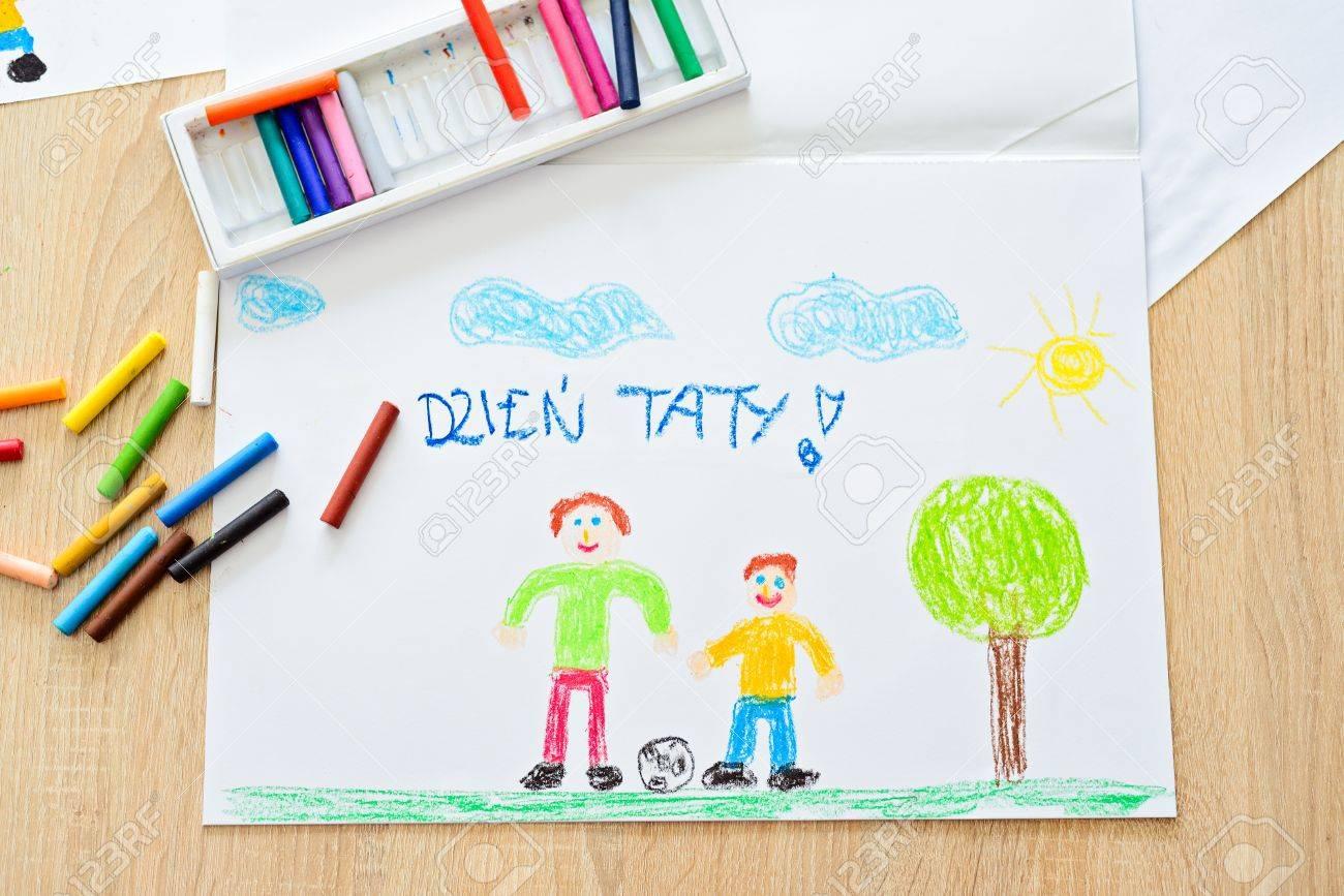Farbe Kinder Zeichnung Vatertag Karte Mit Polnischen Worten