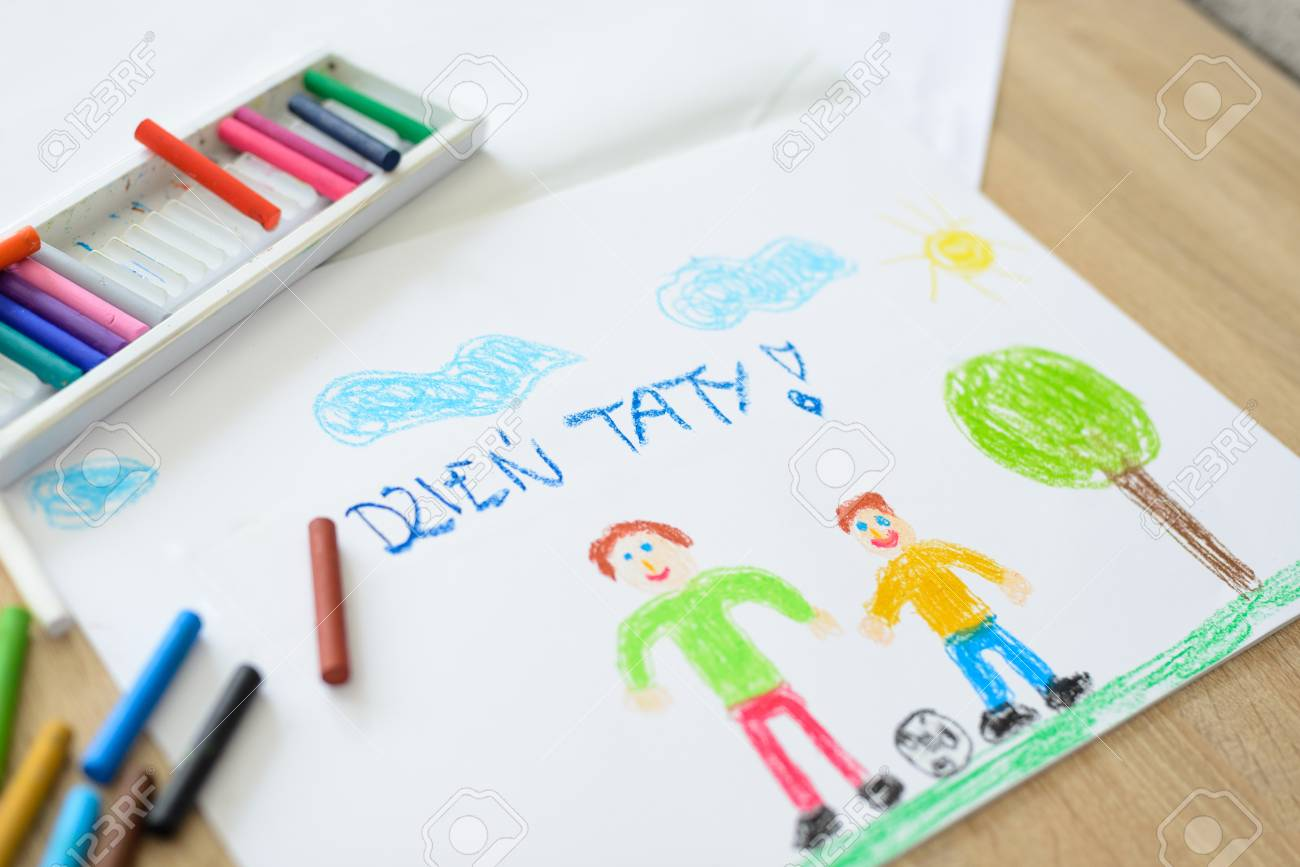Color Children Drawing Fathers Day Card With Polish Words Stock