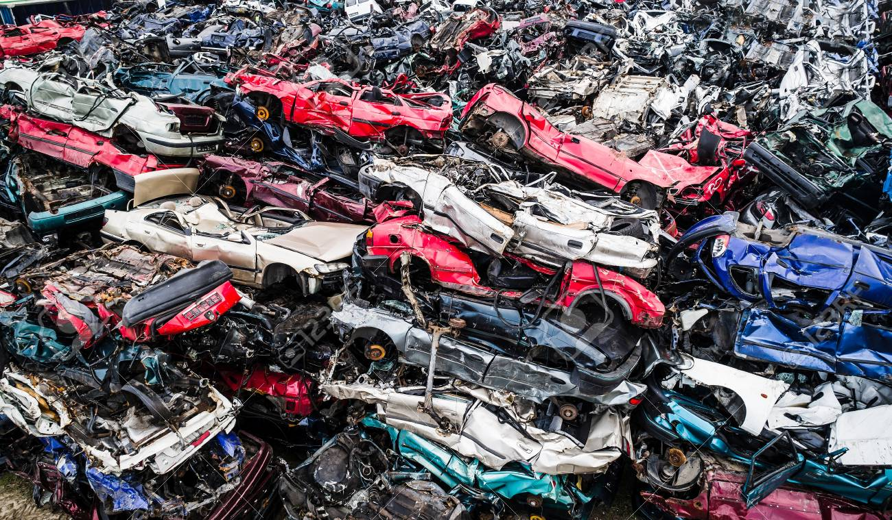 Destroyed Scrapped Cars Stacked On A Scrap Yard. Car Recycling Stock ...