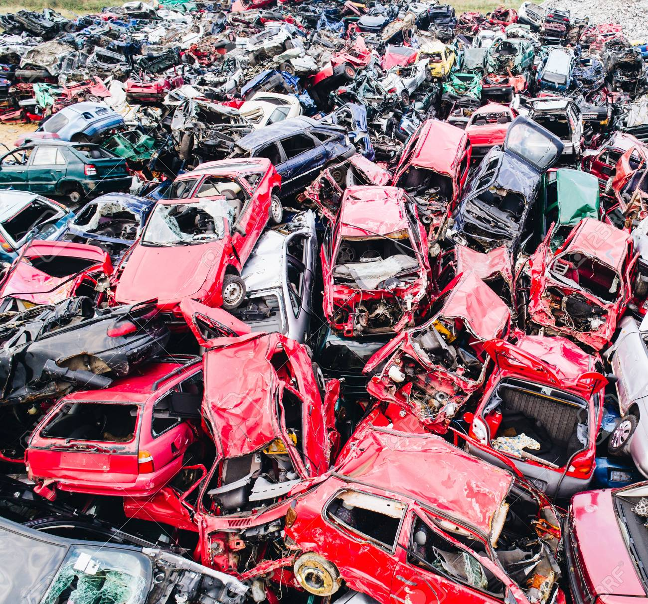 Scrapped Cars Stacked On A Scrap Yard. Car Recycling Stock Photo ...