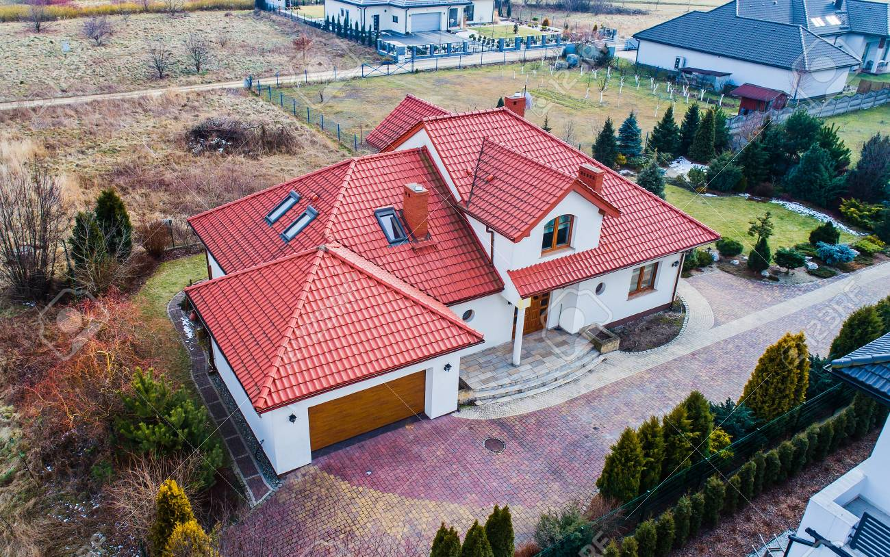 Aerial drone view on single family house in Poland - 96785876