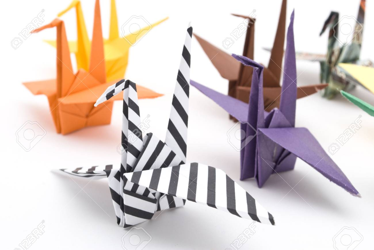 origami birds on a white background Stock Photo - 6571358