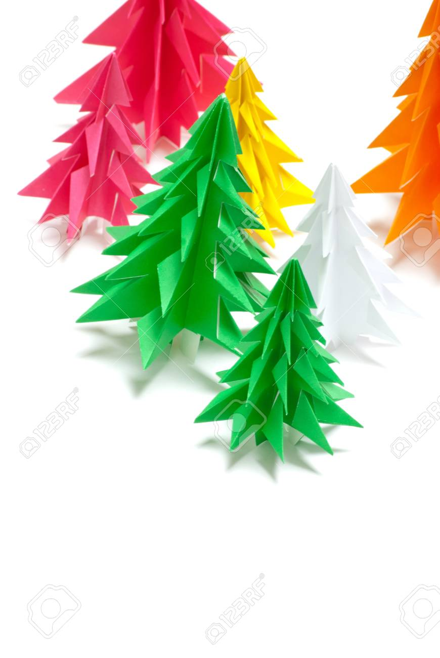 Christmas trees made of paper on white background Stock Photo - 11839231