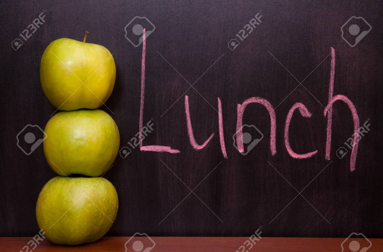 Classroom chalkboard with apples. Stock Photo - 19290064