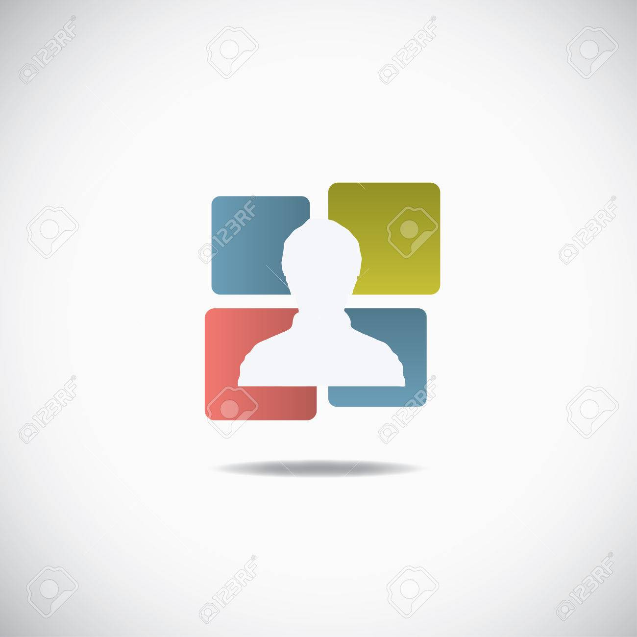 Human icon, silhouette with cubes over the white Stock Vector - 23570829