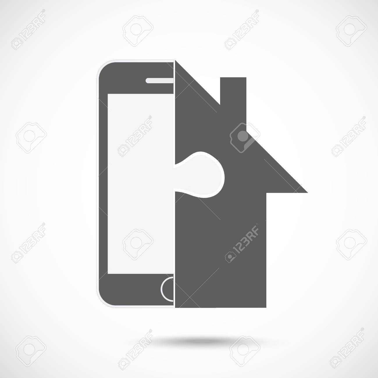 Abstract Symbol Concept Mobile Phone Silhouette And House Royalty