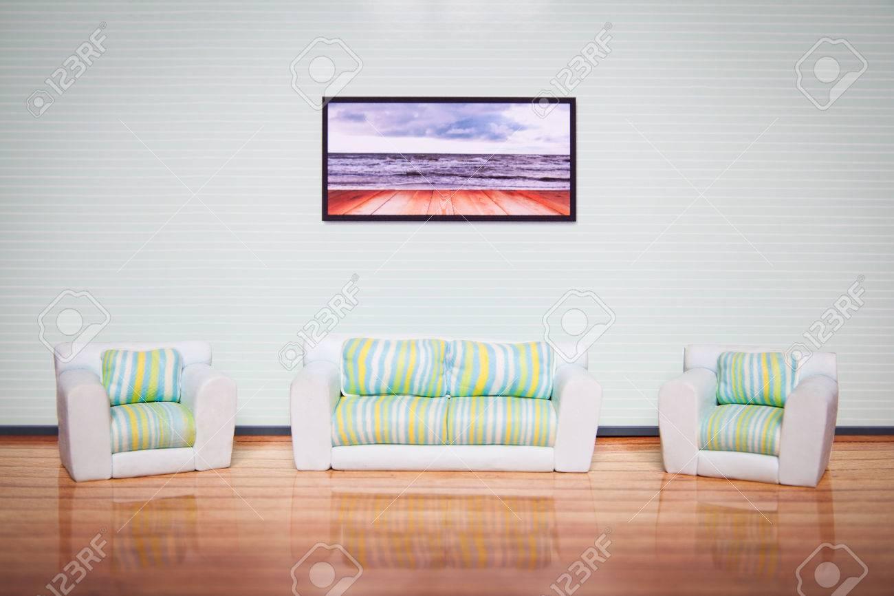 Cosy Living Room Interior. Miniature Toylike Furniture. Stock Photo ...