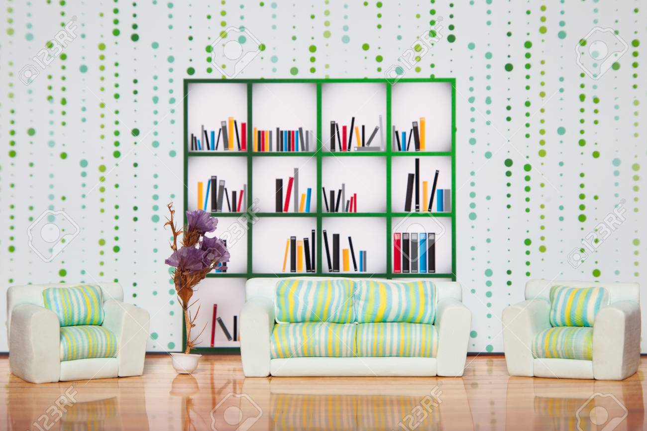 Big Library Shelves With Many Books In White Living Room Interior ...