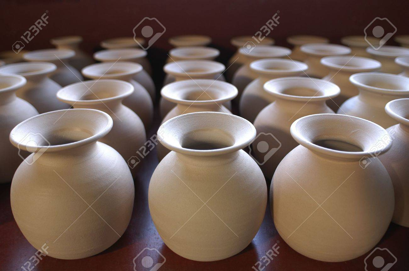 Many Small Ceramic Vases Placed In Row Stock Photo Picture And Royalty Free Image Image 6892155
