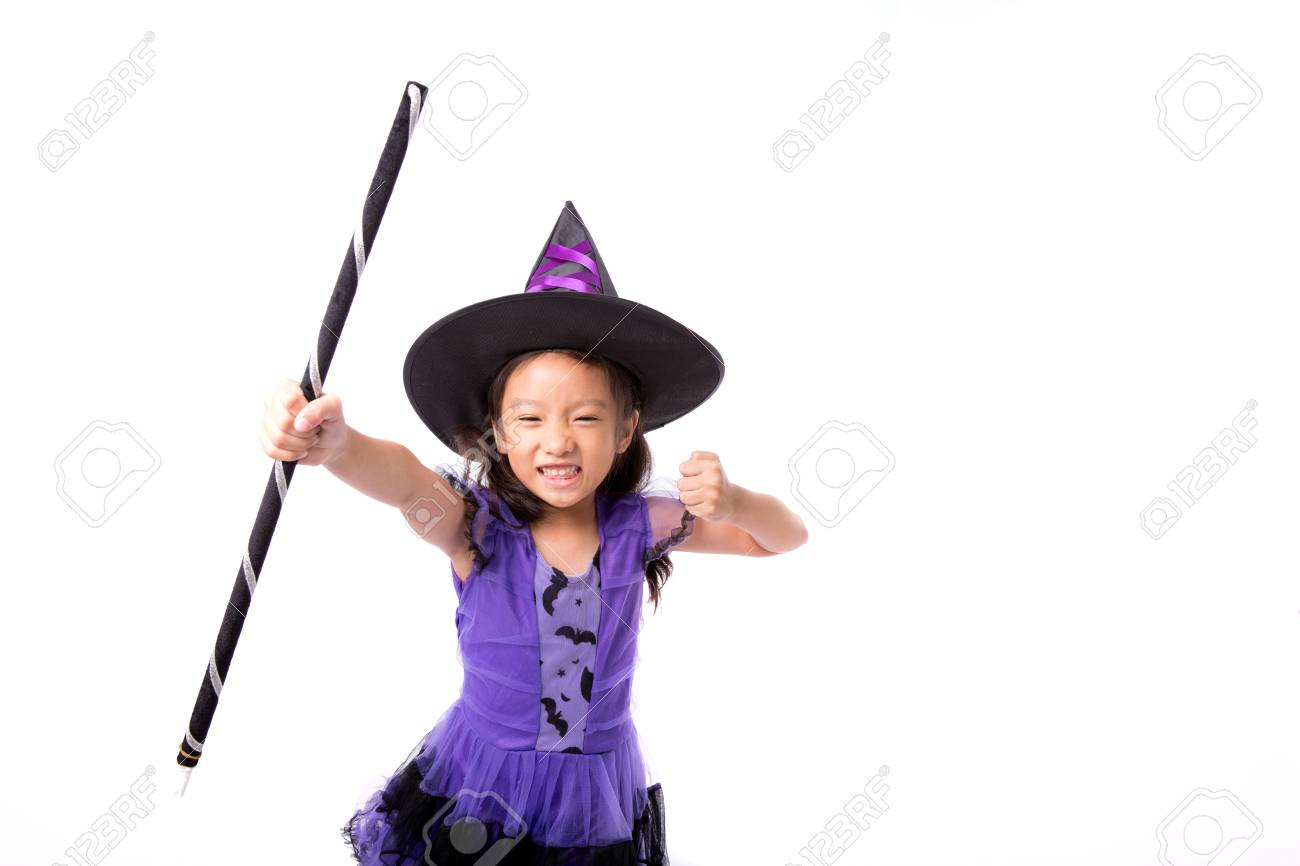 Little Witch Girl Costume Posing For Halloween Isolated On White ...