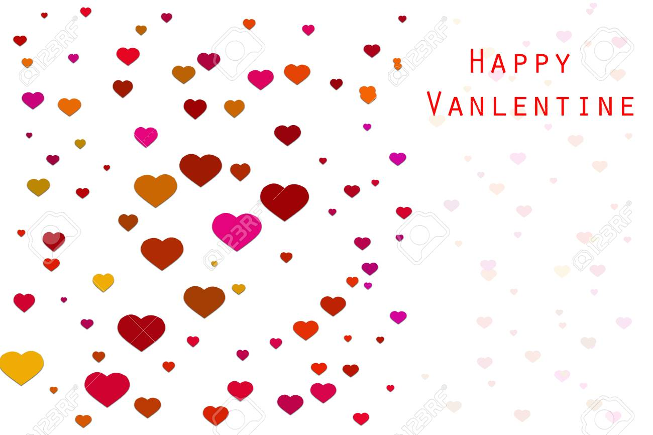 Valentine Card With Flying Heart In Various Colour On White