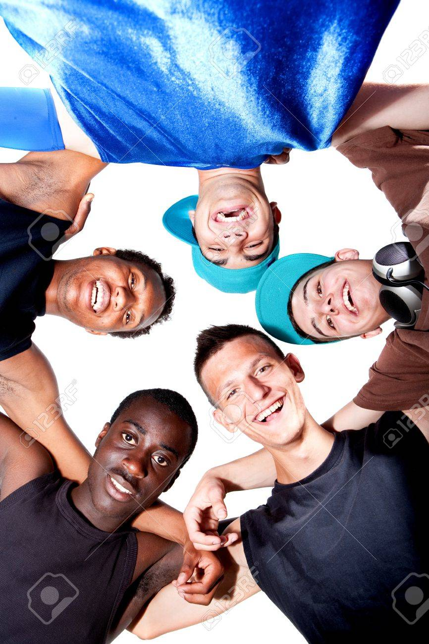 Young group of five teenagers isolated over white. Fresh young men with stylish athletivc outfit. Stock Photo - 7375584