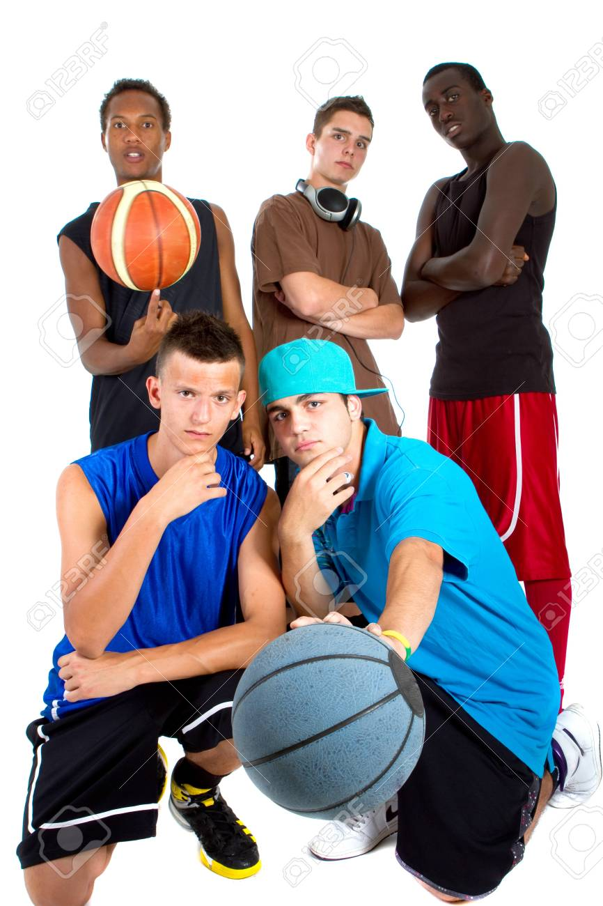 Group of young interracial men posing as a basketball team. Very hip, young and fresh crowd. Stock Photo - 7566348