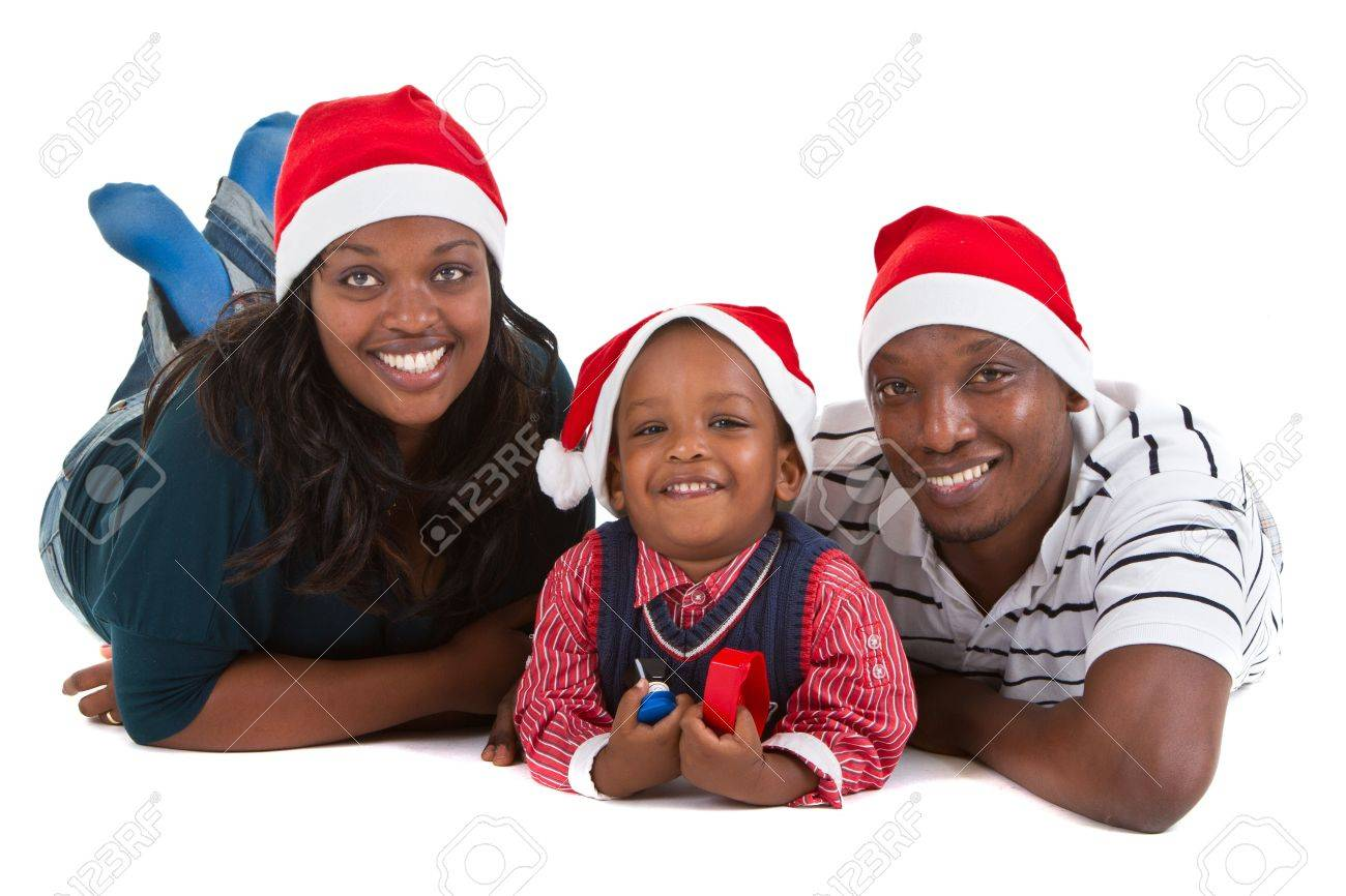 Black People Christmas Pictures.Young Black Family With A Little Boy Are Getting Ready For Christmas