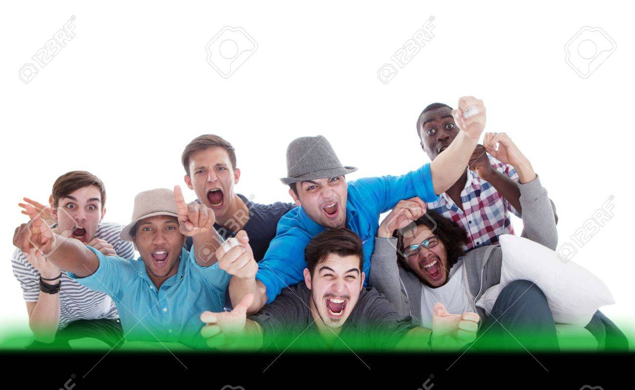 Young men screaming at the tv in joy. Going crazy. - 13214888