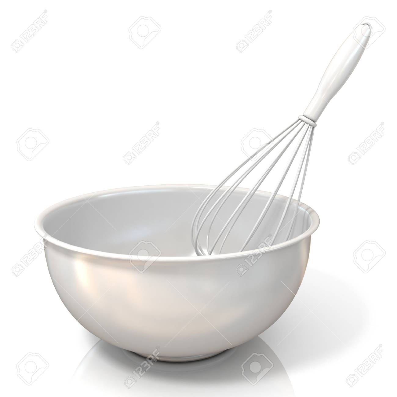 Bowl With A Wire Whisk, Isolated On White Stock Photo, Picture And ...