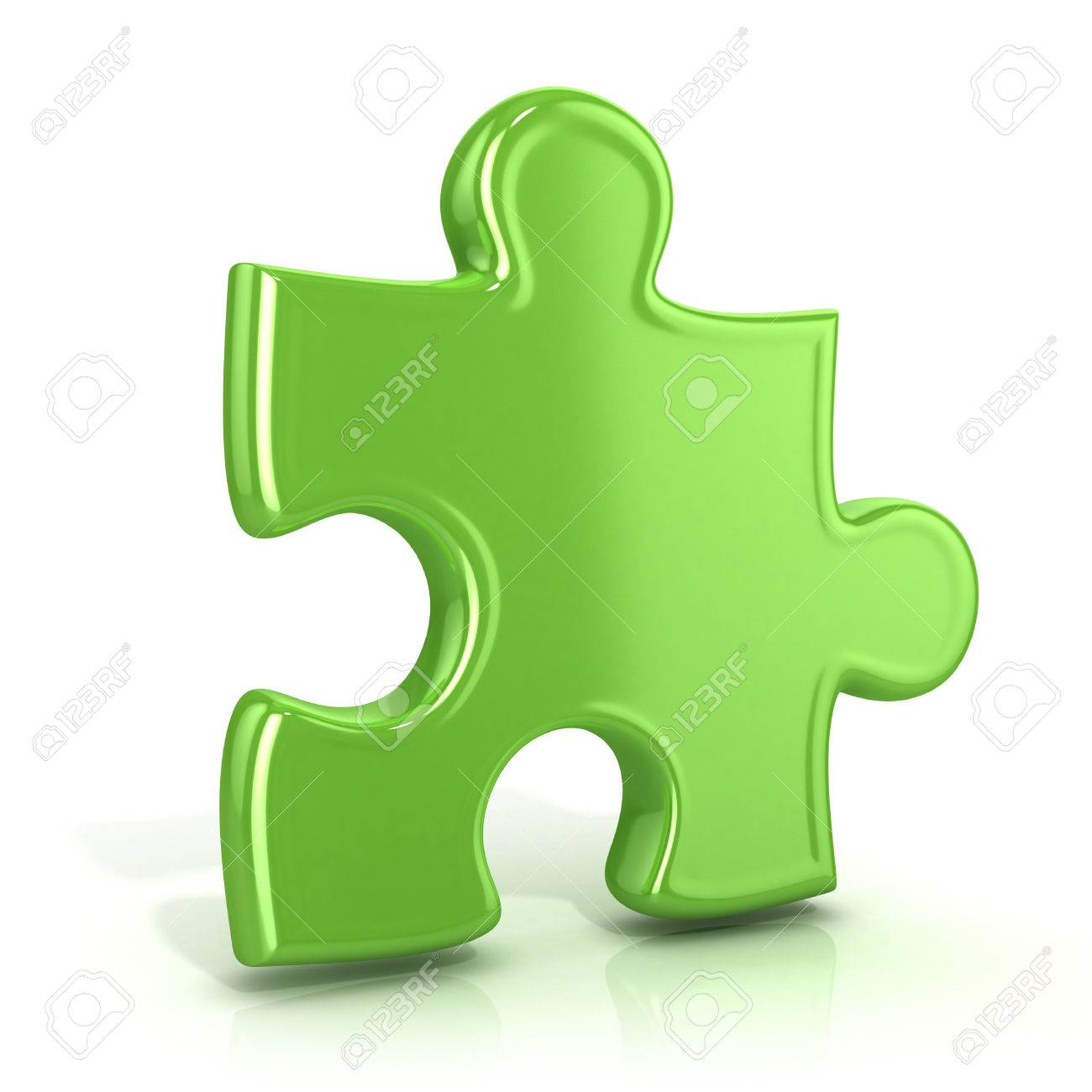 Single Green Standing Jigsaw Puzzle Piece 3D Render Icon Isolated On White Background Usual