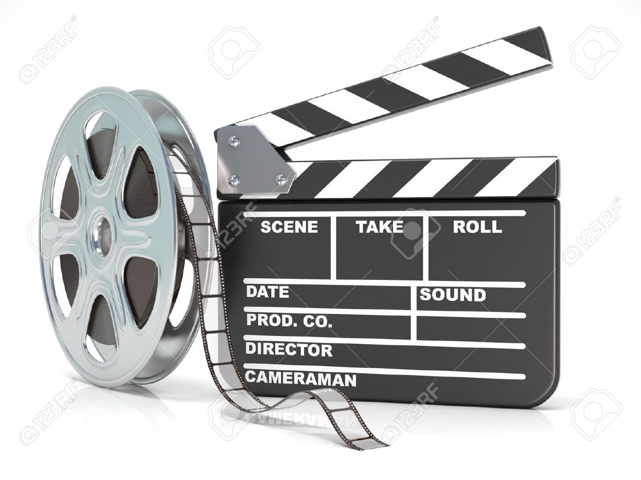 Film reel and movie clapper board video icon 3d render film reel and movie clapper board video icon 3d render illustration isolated on white thecheapjerseys Choice Image