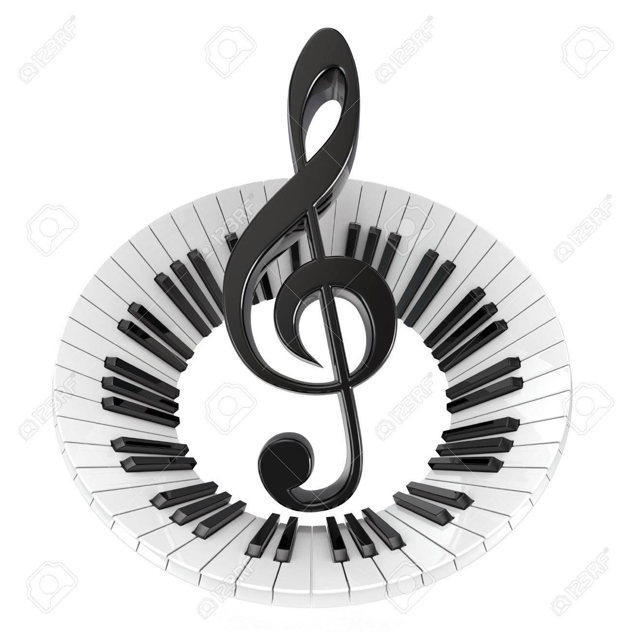 Clave De Sol En El Teclado De Piano Abstracto Símbolo De La Música