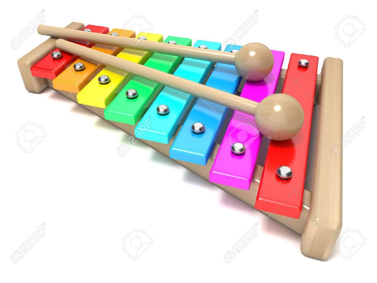 Del Arco Xilófono Aislado Render Colores Dos Baquetas Fondo Instrumento De Iris En BlancoJuguete Con Y Madera3d Teclas wOvmNn80