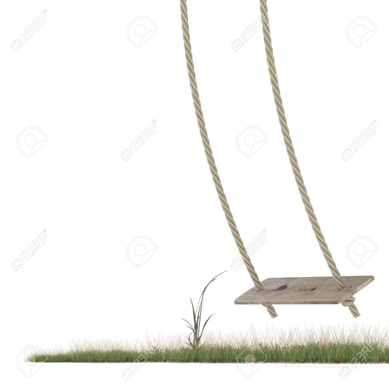Balancoire Faite De Corde Et Une Planche De Bois Sur L Herbe