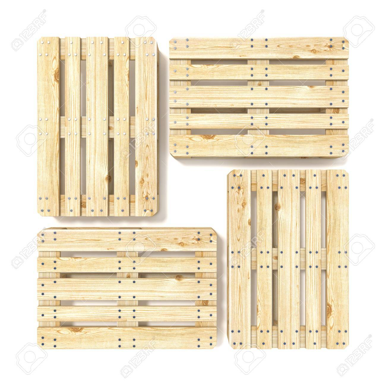 Wooden Euro Pallets Top View 3D Render Illustration Isolated