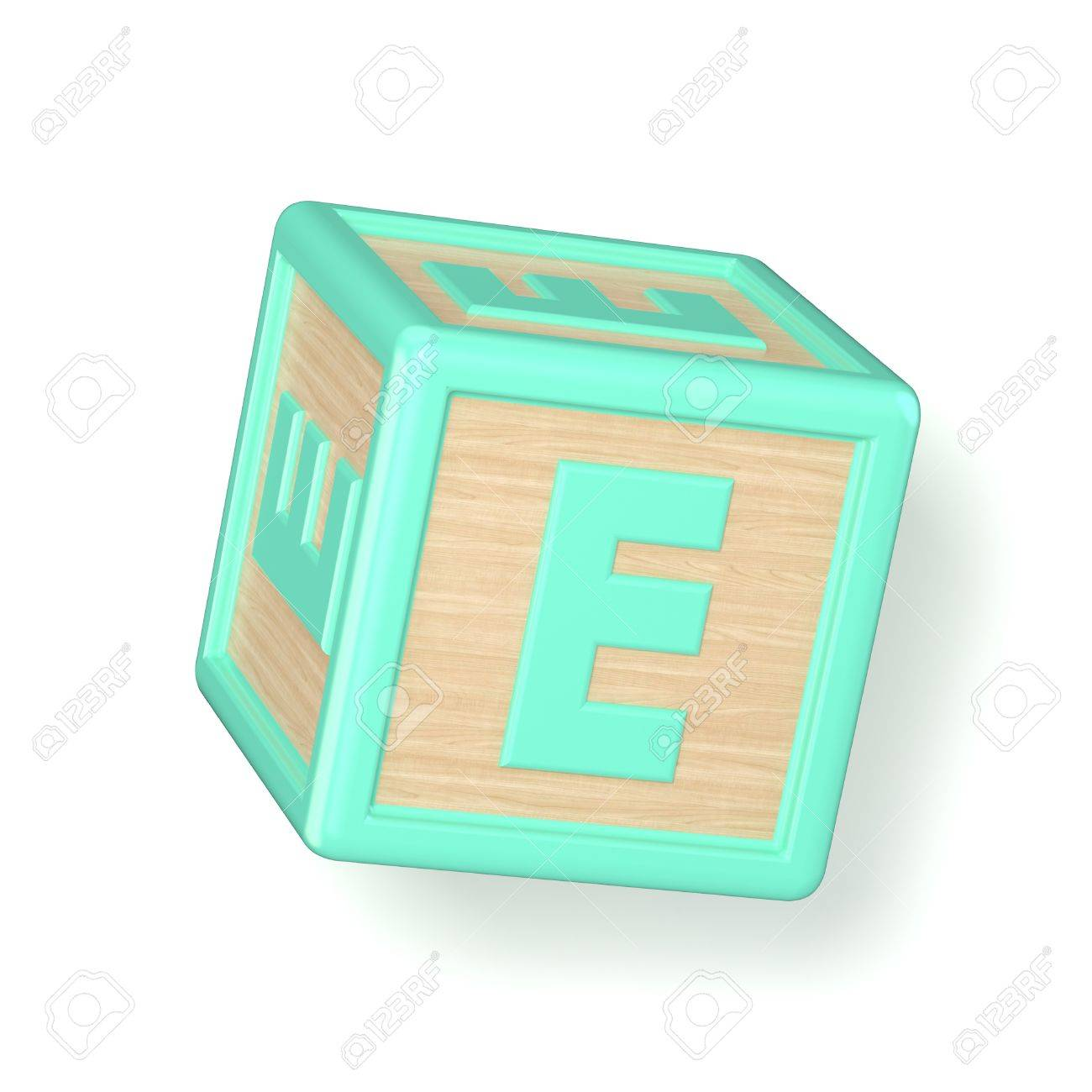 Letter E Wooden Alphabet Blocks Font Rotated 3d Render Illustration