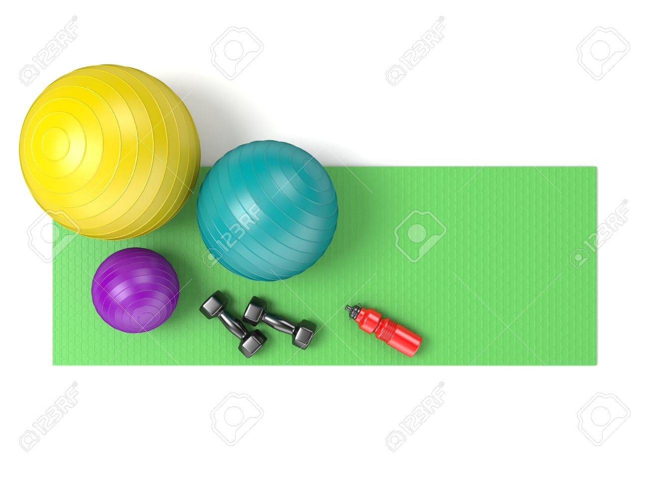 Fitness Ball Dumbbells And Plastic Water Bottle On Green Yoga Mat Top View