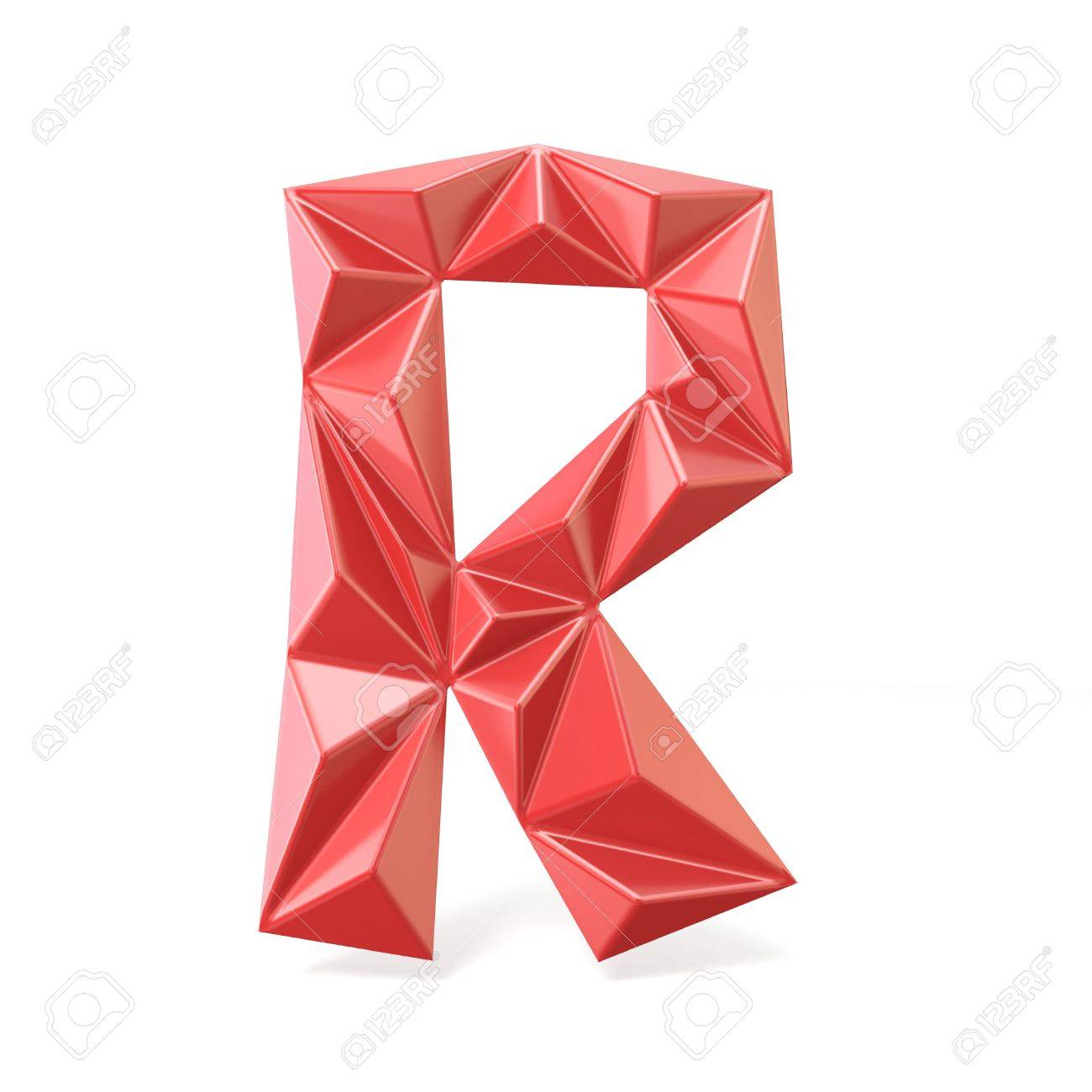 red modern triangular font letter r 3d render illustration isolated