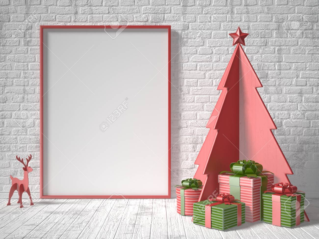 illustration mock up blank picture frame christmas tree decoration and gifts 3d rendering illustration