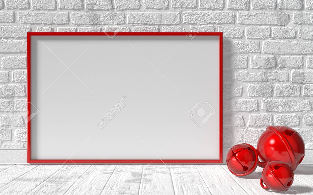 Mock-up Red Canvas Frame, Red Christmas Sleigh Bells And Brick ...