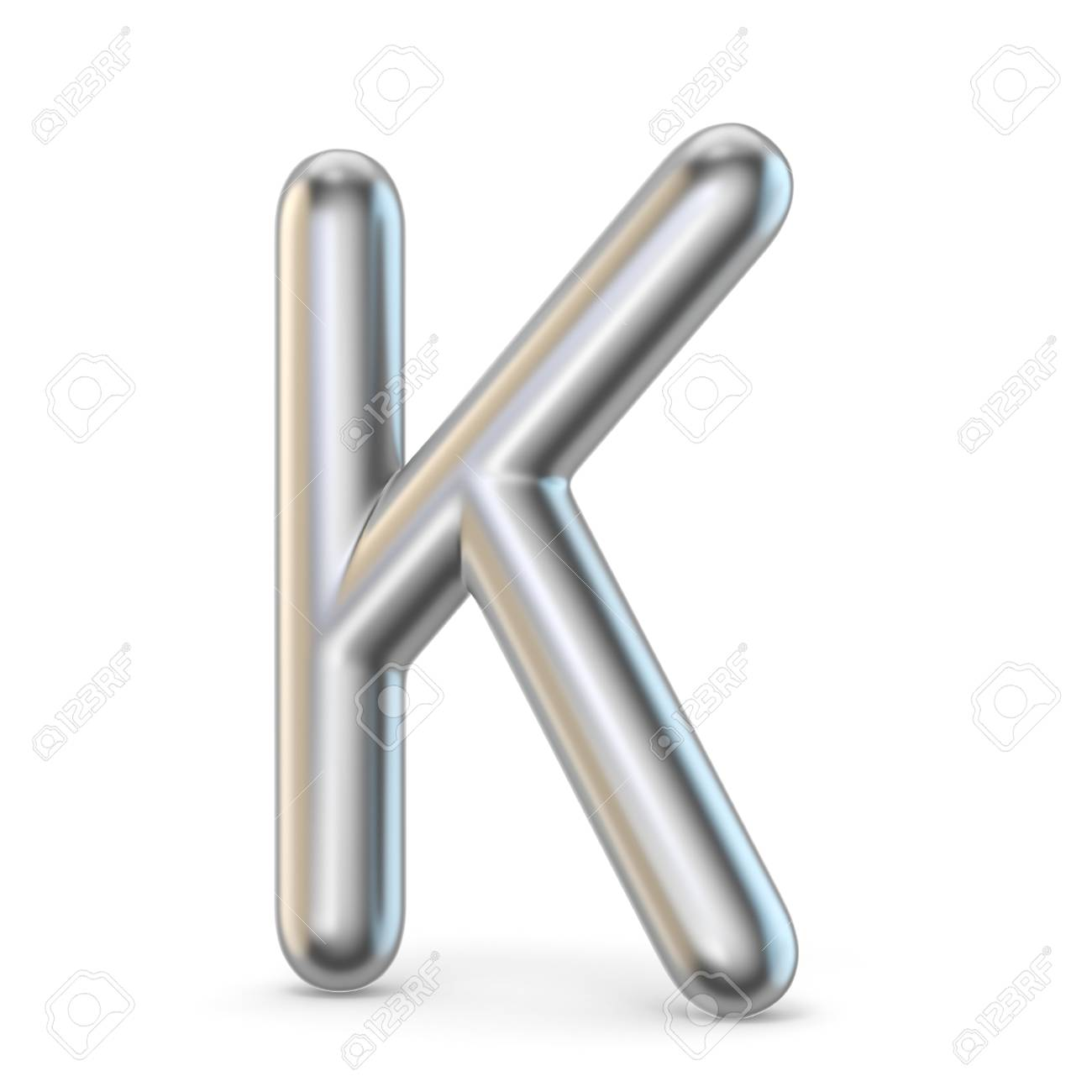 Metal Alphabet Symbol Letter K 3D Render Illustration Isolated