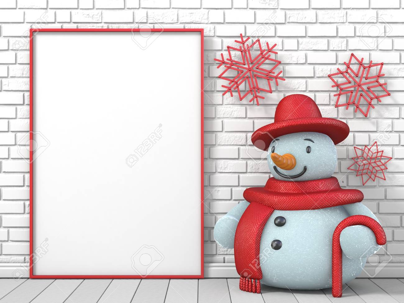 Mock Up Blank Picture Frame, Snowman And Red Popsicle Sticks.. Stock ...
