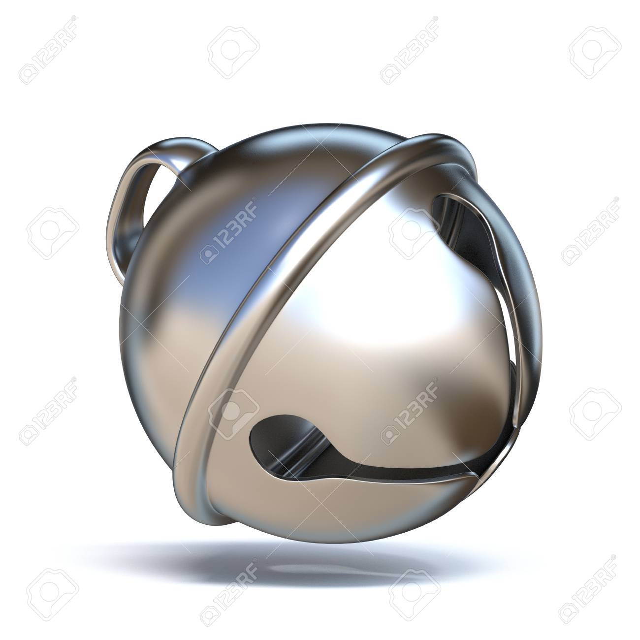 Silver sleigh bell 3D render illustration isolated on white background - 107946551