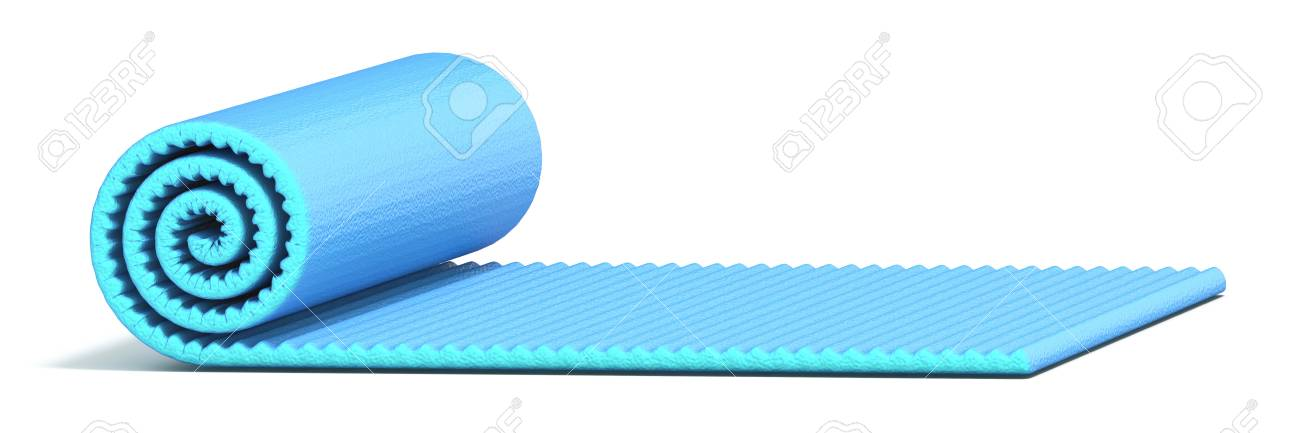 Blue Half Rolled Yoga Mat 3d Render Illustration Isolated On Stock Photo Picture And Royalty Free Image Image 118542361