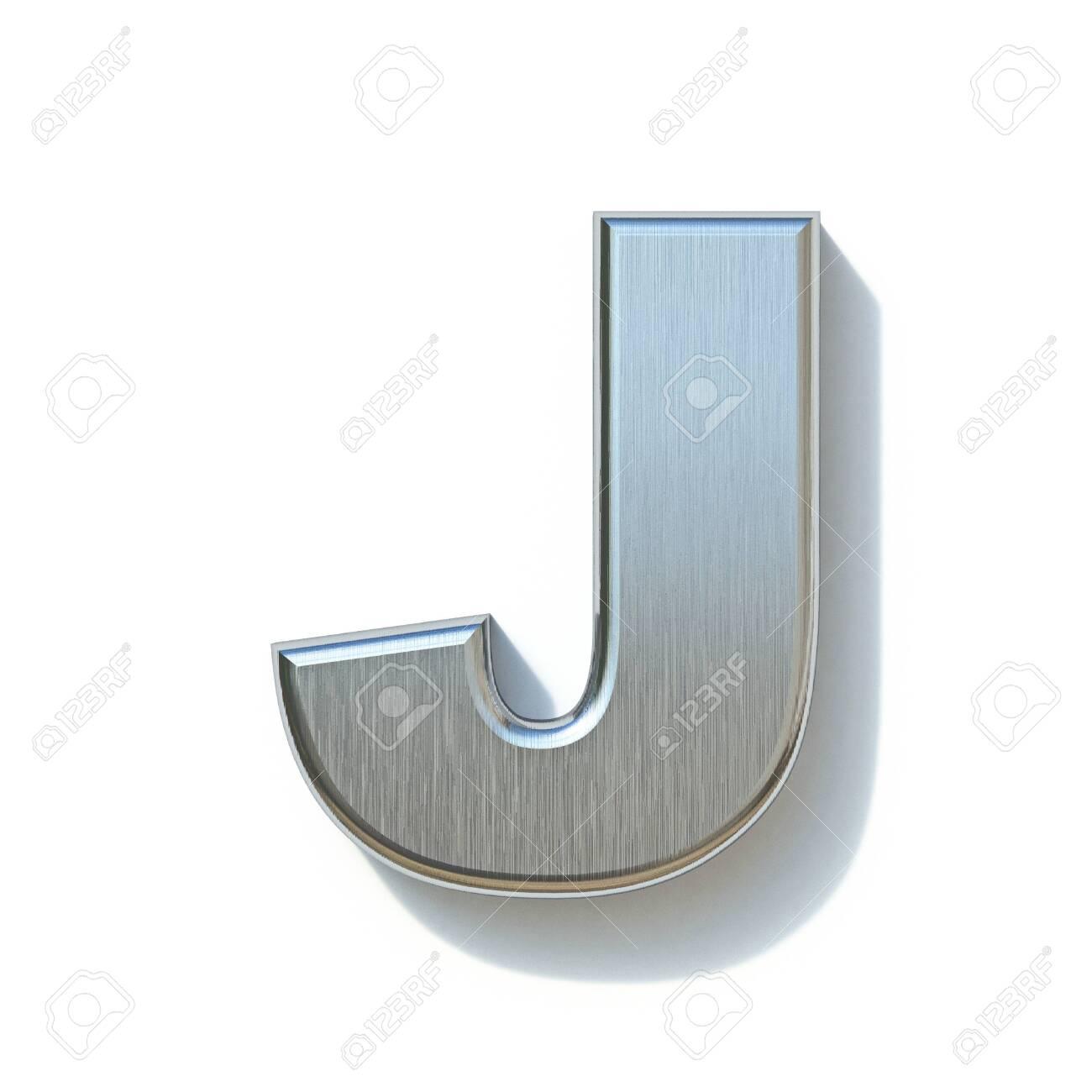 Brushed metal font Letter J 3D render illustration isolated on white background - 138004140