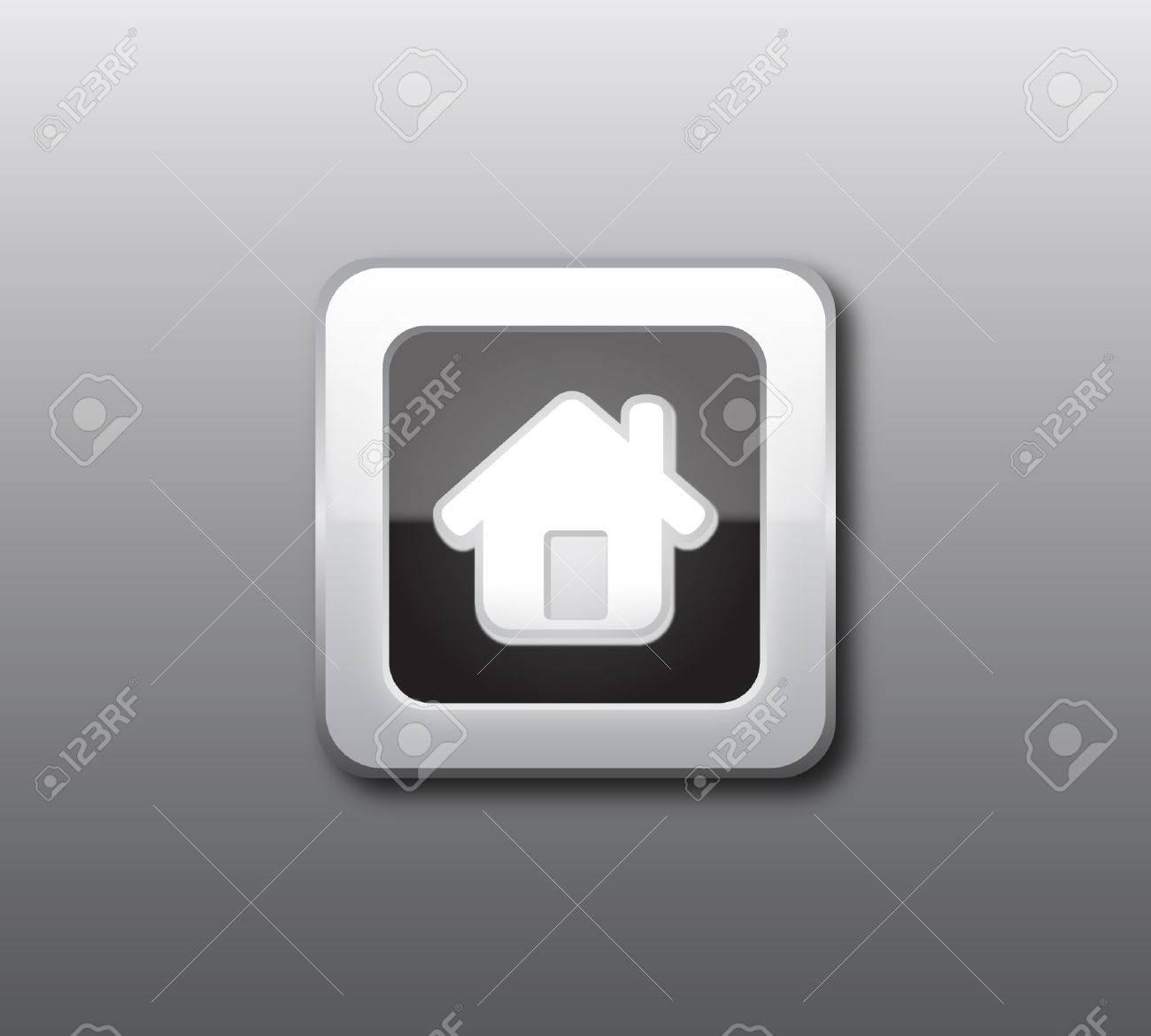 Black home button vector Stock Vector - 8034141