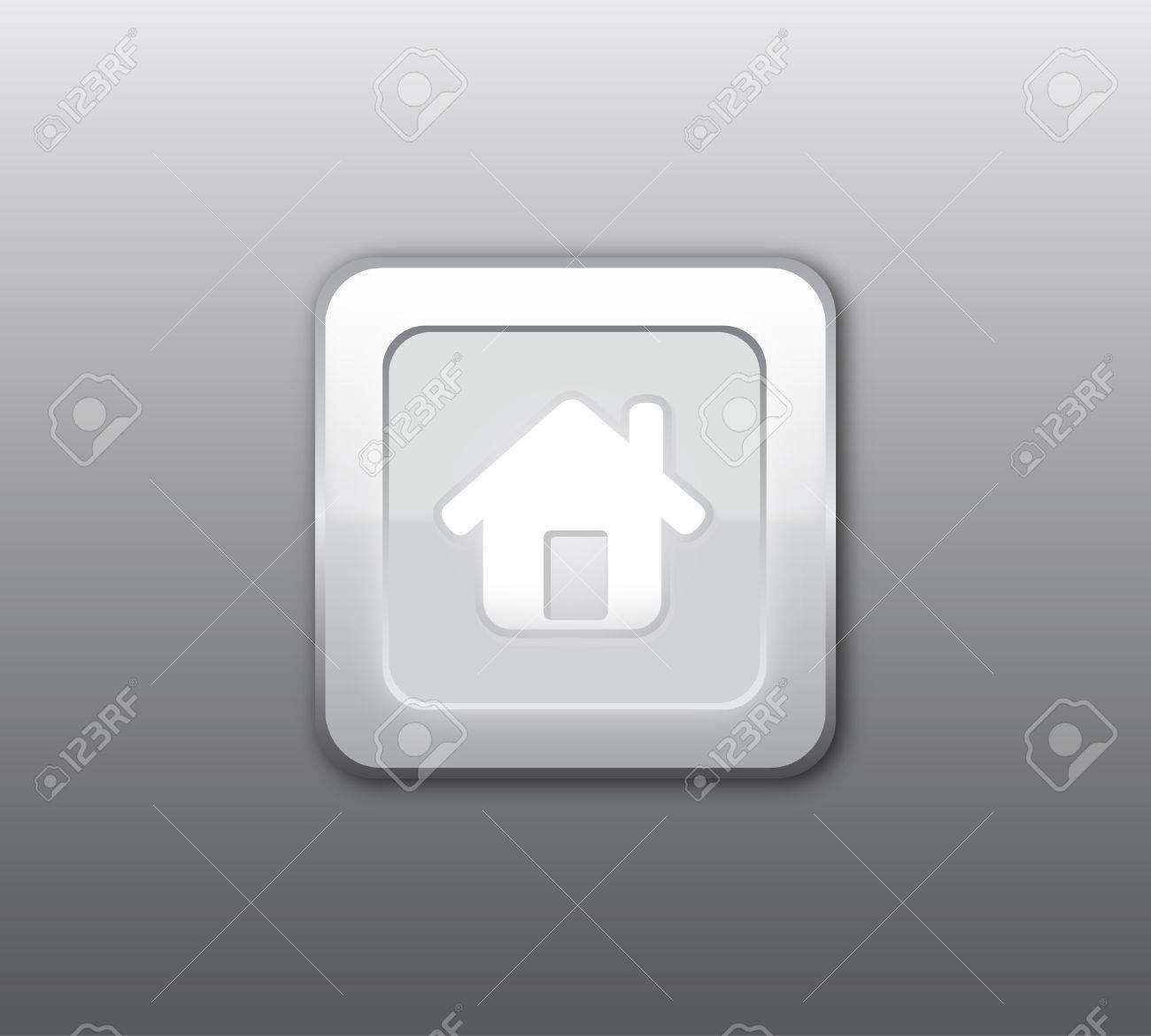 Gray home button Stock Vector - 8490601