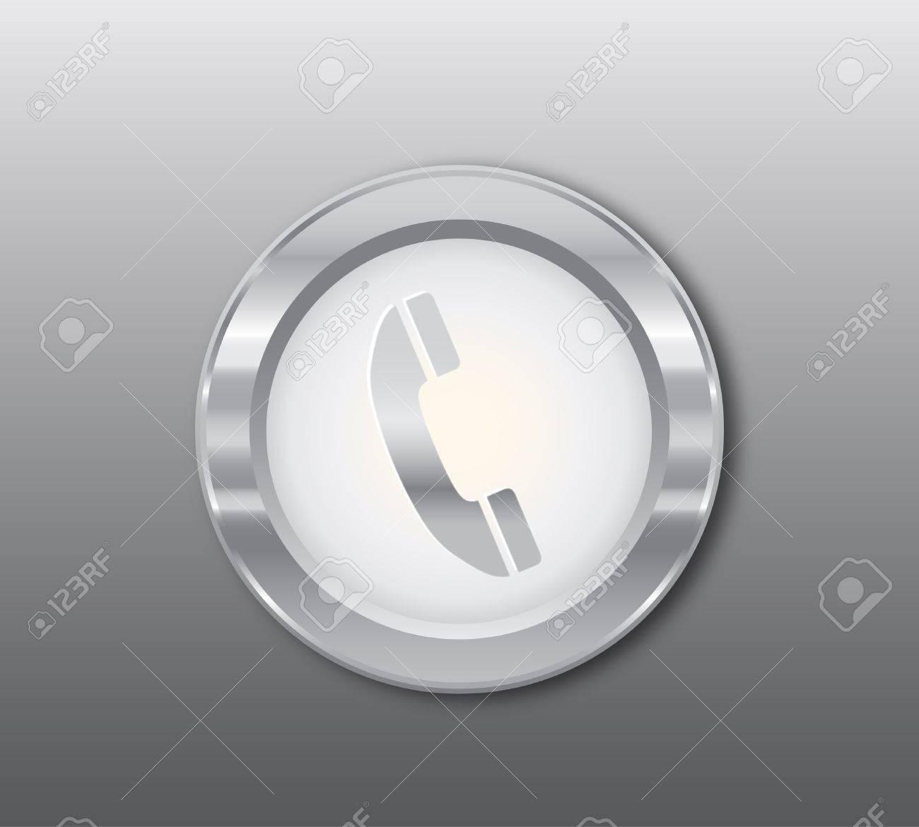 Silver telephone button Stock Vector - 9280912