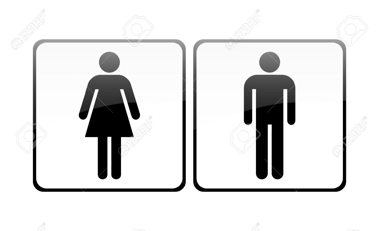 Girls bathroom sign outline - Male And Female Sign Vector Stock Vector 9356039