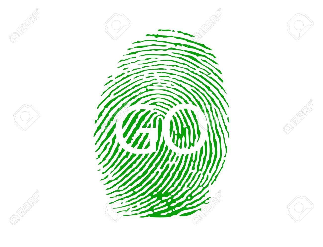 Fingerprint with GO  sign-vector Stock Vector - 9435563